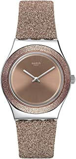 Swatch st. Steel Quartz Synthetic/Leather Strap, Pink, 16 Casual Watch (Model: YLS220)