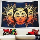 Dremisland Tapisserie Murales Soleil Et Lune Tenture Murale Mandala Indien Bohème Hippie Couverture Décoration Murale pour Chambre Salon Serviette de Plage (Motif 1, M/150x130cm(59x52inch))