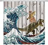 XCBN Lustige Tiere Duschvorhang Katze reitet einen Wal, um Muster wasserdicht Badezimmer Dekor Duschvorhang A5 180x200cm zu bekämpfen