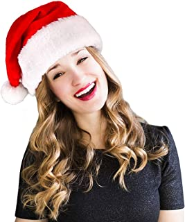 homeasy Santa Hats for Adults Bulk Large, Unisex Christmas Hat Xmas Holiday Hat Extra Thicken Classic Fur Santa Hats for Party New Year Christmas Day Red, White