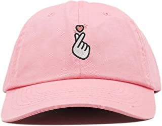 Kpop Heart Symbol Embroidered Low Profile Soft Crown Unisex Baseball Dad Hat