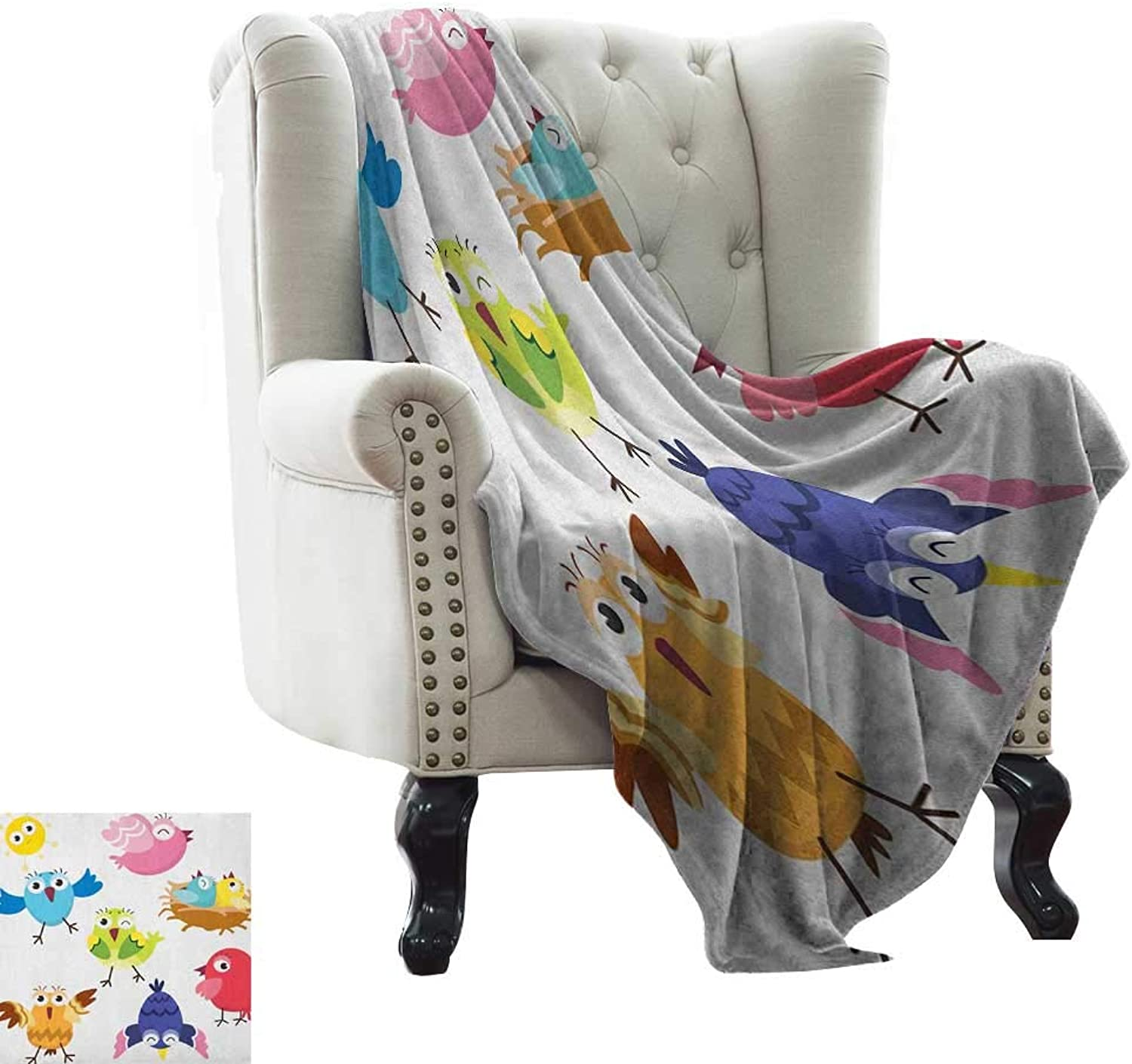 Bird,Warm Microfiber All Season Blanket,Funny Happy Cute colorful Birds and Sun in Cartoon Style Toddler Kids Nursery Theme 60 x36 ,Super Soft and Comfortable,Suitable for Sofas,Chairs,beds