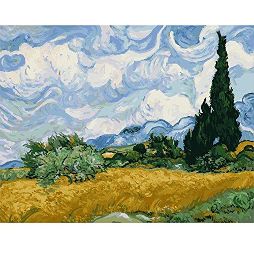 Pintar por números para niños adultos kit de pintura al óleo DIY Principiante - El famoso cuadro de Van Gogh, Cielo 886