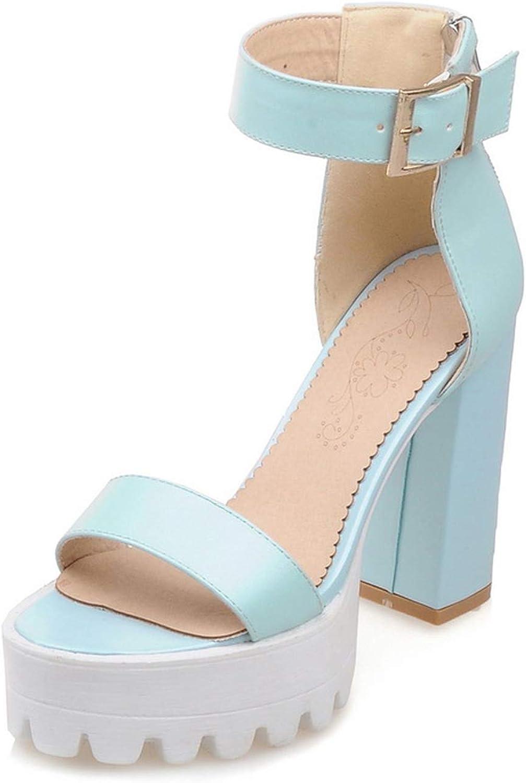 QianQianStore Women Sandals Vintage Design Ankle Straps Open Toe Summer shoes Thick High Heels Sandals