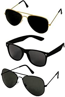 Dervin UV Protection Aviator and Rectangular Unisex Sunglasses (DRVNCOM169, 53, Black) -Combo of 3