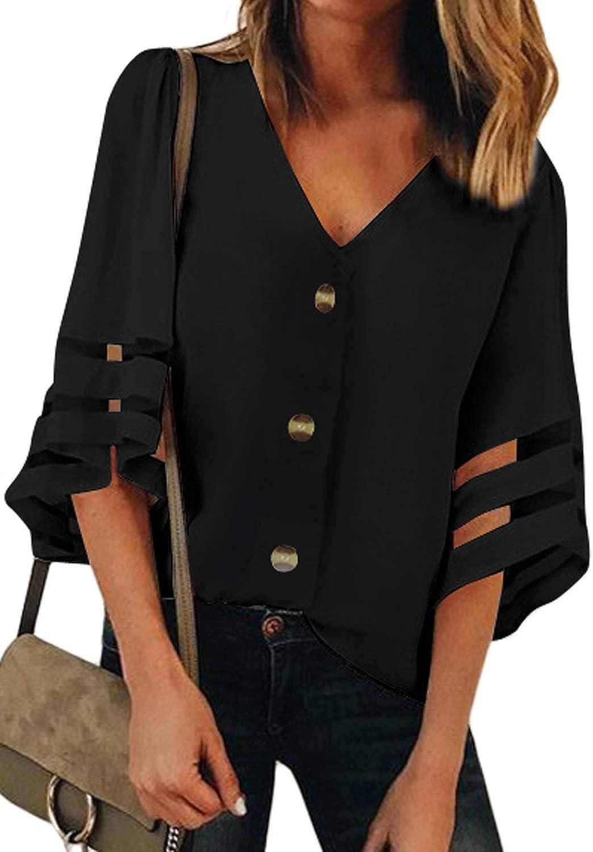 BLENCOT Women's Ranking TOP11 Plus Size Chiffon Spasm price Blouse 4 Sleeve D 3 Shirt Bell