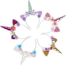 5PC Glitter Unicorn Horn Headband, Flower Ears Unicorn Headbands for Girls, Birthday Party Supplies, Favors and Decoration...