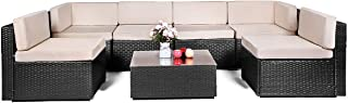 AECOJOY 7 Piece Outdoor Patio PE Rattan Wicker Sofa Cushioned Sectional Furniture Set (7 Pieces, Black)