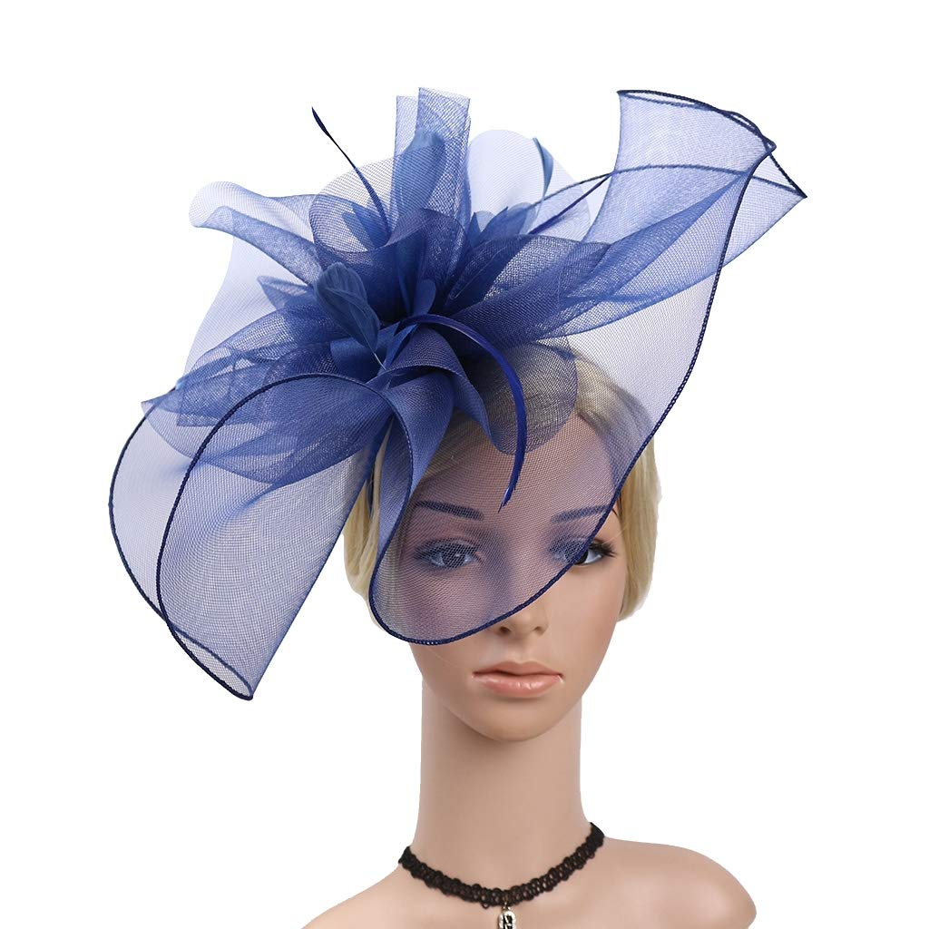 Feather Mesh Fascinators with Headbands Flower Hats Veil Fascinators for Women Ladies Elegant Tea Party