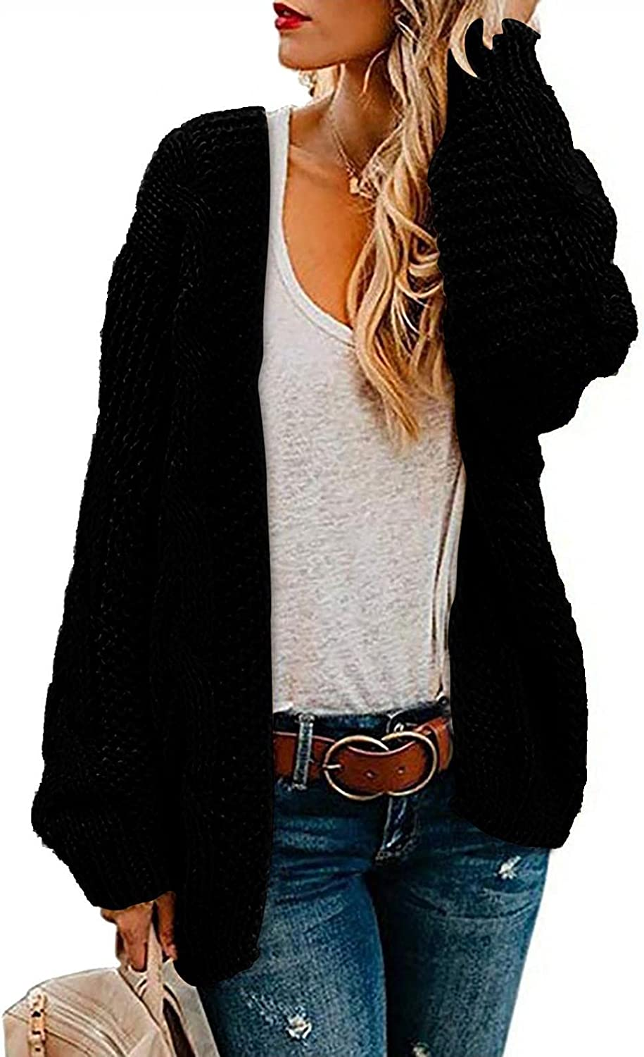 Women Loose Fit Lightweight Sweater Cardigans Jackets Casual Soft Loose Chunky Knit Open Front Cardigans Plus Size