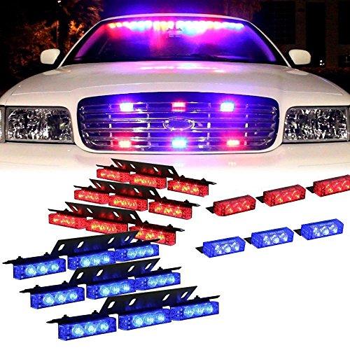 Led Blitzer, HEHEMM Auto Styling Licht 72 Led Super Hell Warnlicht am Armaturenbrett Auto Blinklicht Notleuchte LKW-Polizei Führte Lichter 12V (Rot und Blau)