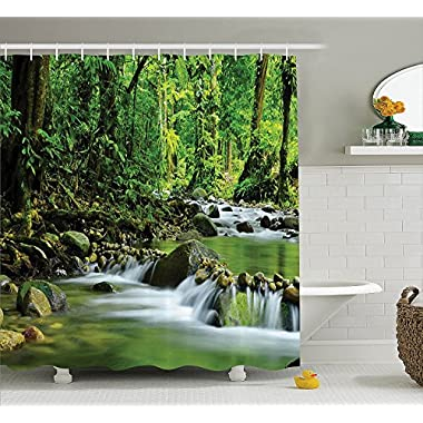Ambesonne Rainforest Decorations Shower Curtain Set, Mountain Stream in A Tropical Rain Forest Foliage Countryside Wilderness Scene, Bathroom Accessories, 69W X 70L inches, Green Brown