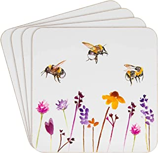Heat Resistant Cork Back Coasters Pretty Water Colour Busy Bees Design by Jennifer Rose Gallery