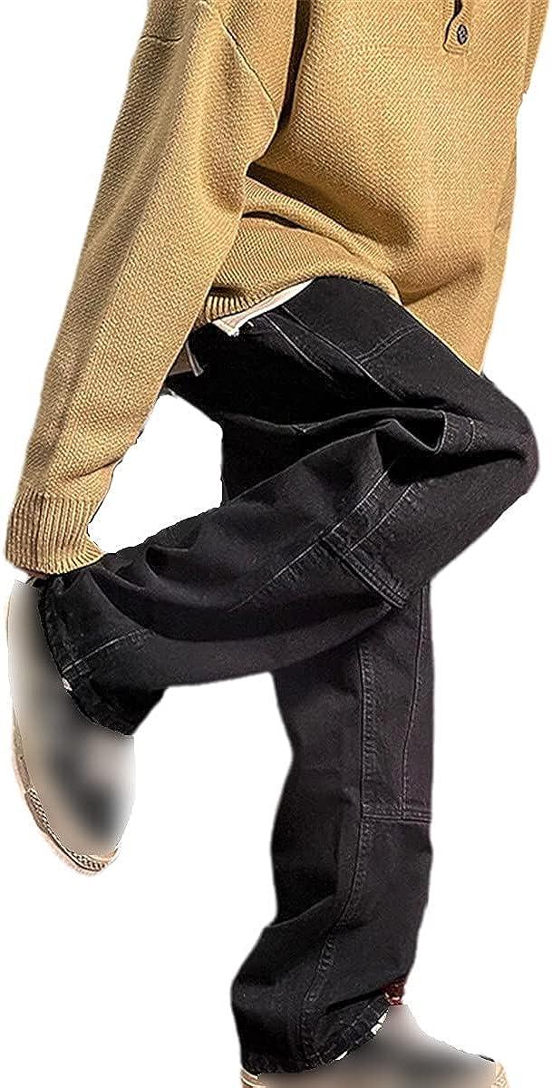 Men's Jeans Fashion Loose Straight Jeans Men's Casual Loose Unisex Denim Pants Men's and Women's Pants