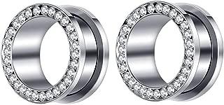 Crystal Rhinestones Ear Tunnels Plugs Expander Gauges Stretcher Earrings Screw Stainless Steel Piercing Body Jewelry