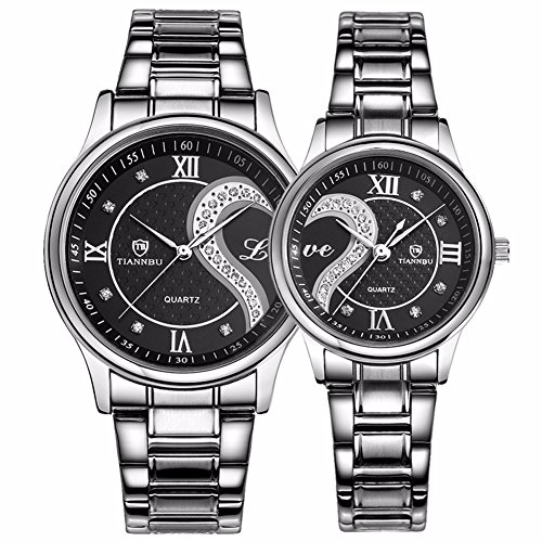 Valentine's Romantic Stainless Steel His and Hers Wrist Watches,fq-102 Gifts Set for Lovers,Black Color 2 Pieces