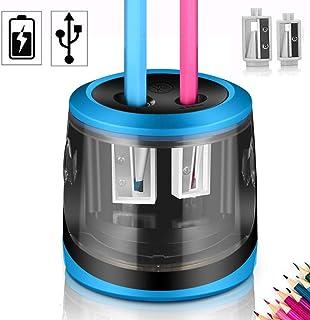 AOBETAK Sacapuntas Eléctrico, USB y Batería de Alimentación, 2 Agujeros, Resistente Sacapuntas Electrónico Automático con Gran Contenedor para Lápices de Colores y n.º 2, Hogar y Oficina (Blue)