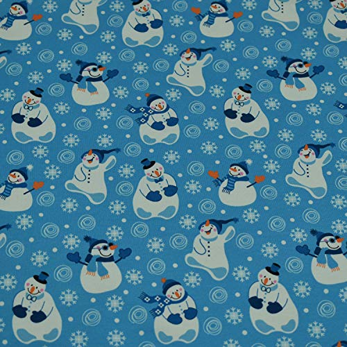 Sweatstoff/Sweat Stoff, Schneemänner, Schneeflocken für Kinder, angeraut, blau (50cm x 160cm)