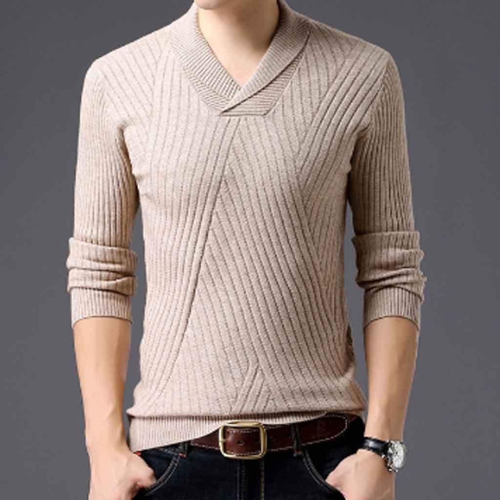 ZYING Weater for Mens Pullovers Neck Slim Fit Jumpers Knitwear Autumn Korean Style Casual Mens Clothes (Color : L Code)