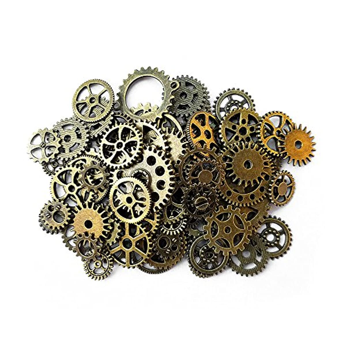 Aoyoho 100 Gram Assorted Antique Steampunk Gears Charms Pendant Clock Watch Wheel Gear for Crafting