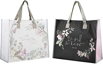 2 Religious Themed Inspirational Christian Tote Bags for Women | Live Thankfully, Be Still and Know Theme | Reusable Totes...