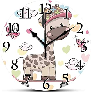 BCWAYGOD Silent Wall Clock,Kids,Cute Cool Giraffe Wearing Cap on a Skate Board with Butterflies Fun Colorful Hearts Print Decorative Non Ticking Wall Clock/Desk Clock for Office Home Decor 9.5 inch