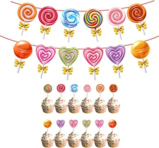 Amosfun 1 Set Lollipop Cake Topper Party Food Picks Candy Banner Decorations for Birthday Baby Shower Party Suppllies (2pc...