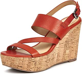 Saint G Orange Leather Wooden Wedge Sandals
