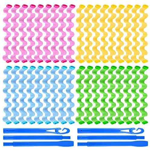 FEPITO 36er Pack Magic Lockenwickler Spiral Curls Wave Styling Hair Rollers Kit No Heat Lockenwickler und Stylinghaken für alle Haarlängen, 45 cm