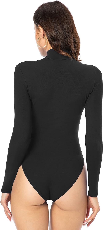 DouBCQ Women's Turtleneck Leotard Long Sleeve Basic Tops Bodysuit Jumpsuits