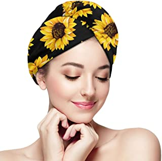 BJHAP Microfiber Hair Towel Wrap Sunflowers Super Absorbent Quick Dry Hair Turban Cap for Women