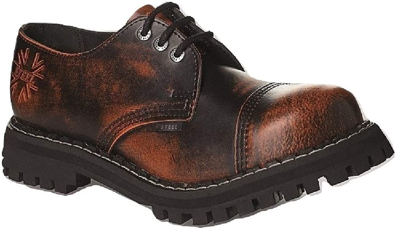 Steel Military shoes Unisex Men's Ladies Leather orange Rub Off Black 3 Eyelets Army Punk Toe Cap