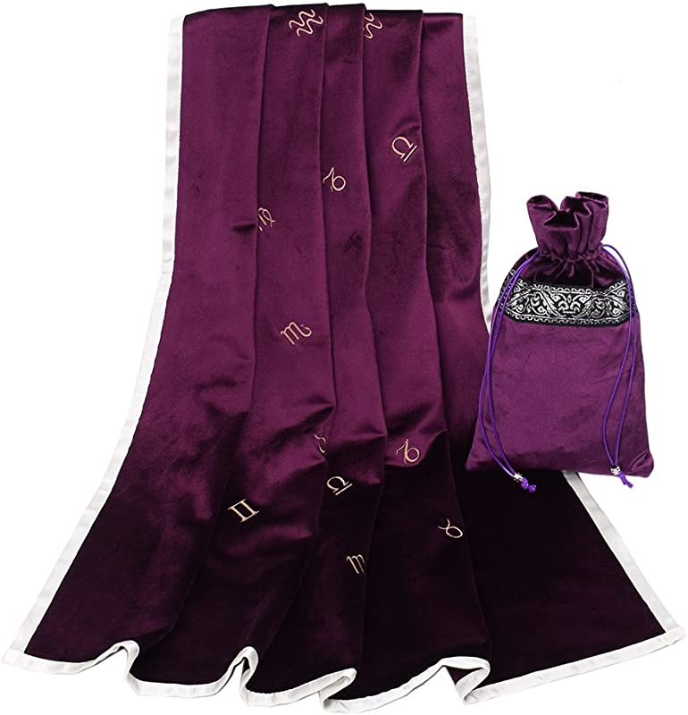 GRACEART Large 31 X31 Astrology Embroidered Tarot Table Cloth Table Cover With Tarot Pouch Purple