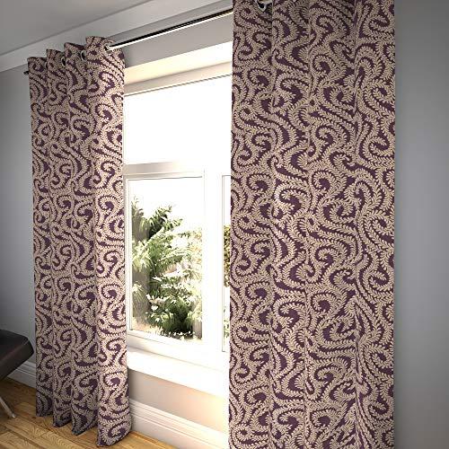 McAlister Textiles Cortinas con 2 paneles, diseño floral morado berenjena hecho a pedido, cortinas y cortinas, plisadas de algodón, 167 cm x 182 cm