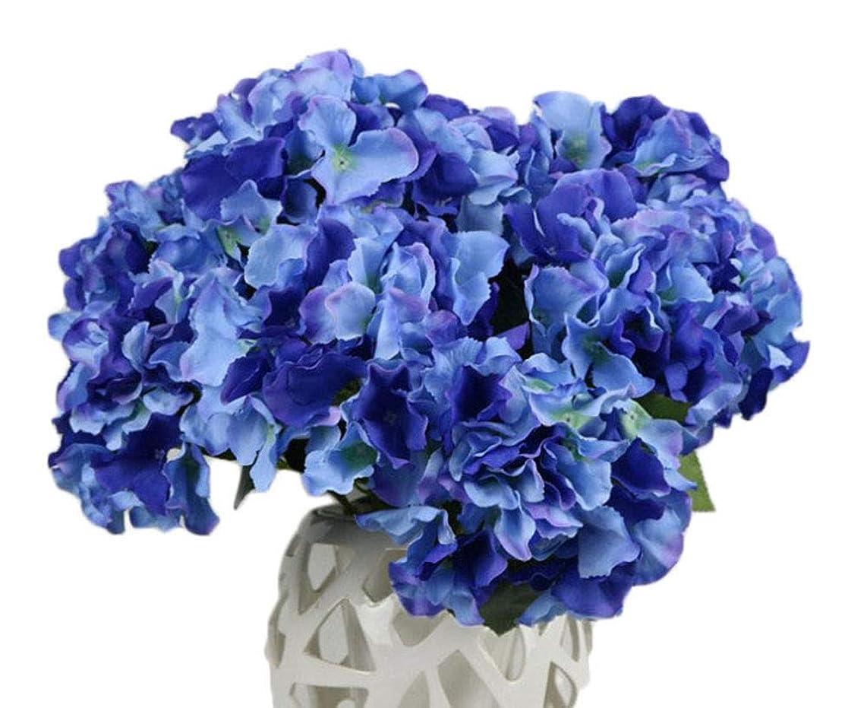QuYTO Hydrangea Silk Flower Home Wedding Hotel Office Party Garden Craft Art Decor (About 12 in, Dark blue)