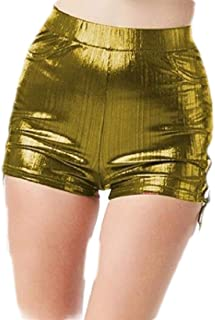 b120698a2 Smeiling-CA Women Metallic Hollow Out Lace Up Hot Pants Sexy Shorts