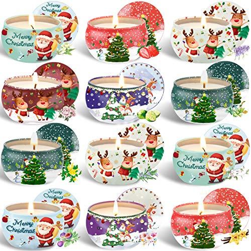 McNory 12 Piezas Regalo de Velas Perfumadas,Cera de Soja Natural,Velas Aromaticas,Aromaterapia Decoración para Relajación Fiesta Boda Baño Yoga Cumpleaños Navidad Día de San Valentín Regalos