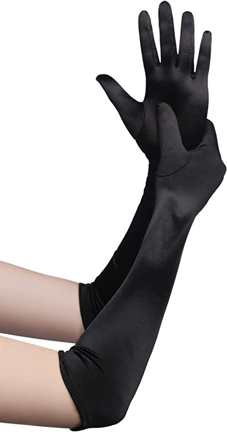 Victorian Gloves | Victorian Accessories BABEYOND Long Opera Party 20s Satin Gloves Stretchy Adult Size Elbow Length  AT vintagedancer.com