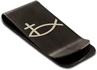 Stainless Steel Ichthus Cross Fish Symbol Engraved Money Clip Credit Card Holder