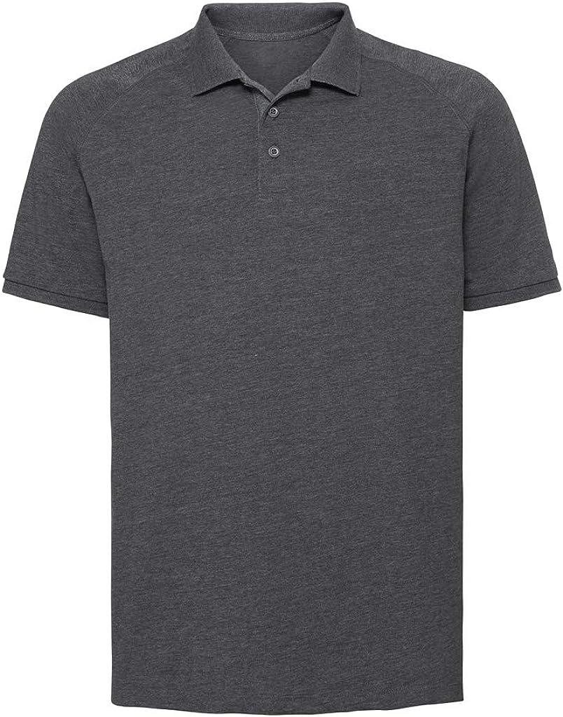 Russell Mens HD Raglan Jersey Polo Shirt (XXL) (Gray Marl)