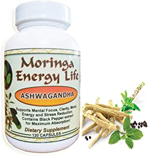 Ashwagandha Capsules by Moringa Energy! - 100% Pure and Natural Ashwagandha Root Extract Plus Black Pepper in 120 Capsules...