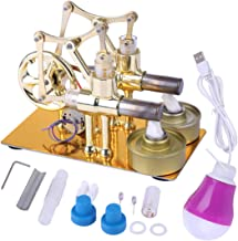 HMANE Metal Hot Double Cylinder Stirling Engine Model Bulb External Combustion Heat Steam Power Physics Science Experiment Engine Model