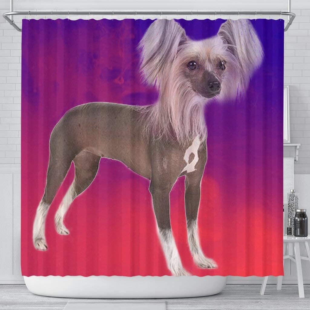 Max 61% OFF Pawlice It is very popular Chinese Crested Dog Curtain Print Shower