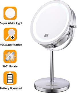 "ALHAKIN Lighted Makeup Mirror - 7"" LED Vanity Mirror 10X Magnifying Double Sided Swivel Cosmetic Mirror Chrome Finish"