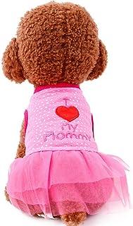 SIMPLEST LIFE Pet Adorable Dresses Heart Pattern Dot Tutu Princess Dress for Puppy Dogs-Pink L