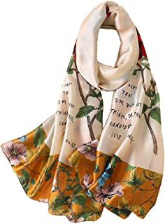 100% Silk Scarf - Women's Fashion Large Sunscreen Shawls Wraps - Lightweight Floral Pattern Satin for Headscarf&Neck
