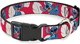 Buckle Down Dog Collar Plastic Clip Lilo Stitch 4 Poses Lilo Dress Leaves Red Ivory Available in Adjustable Sizes for Small Medium Large Dogs