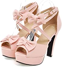 JOYBI Womens Platform High Heels Pumps Sandals Summer Bowtie Non-Slip Fashion Ankle Strap Buckle Peep Toe Sandal