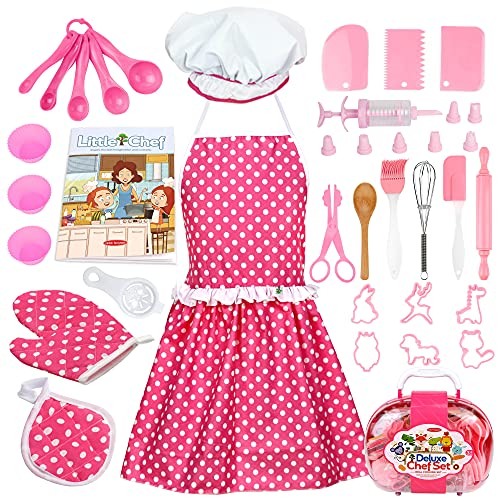 Veitch fairytales Kids Cooking and Baking Supplies Set 38 Pcs Includes Apron Hat Mitt and Decorating Supplies Dress Up Chef Costume Role Play Gifts for 3 4 5 6 7 8 Year Old Girls Boys