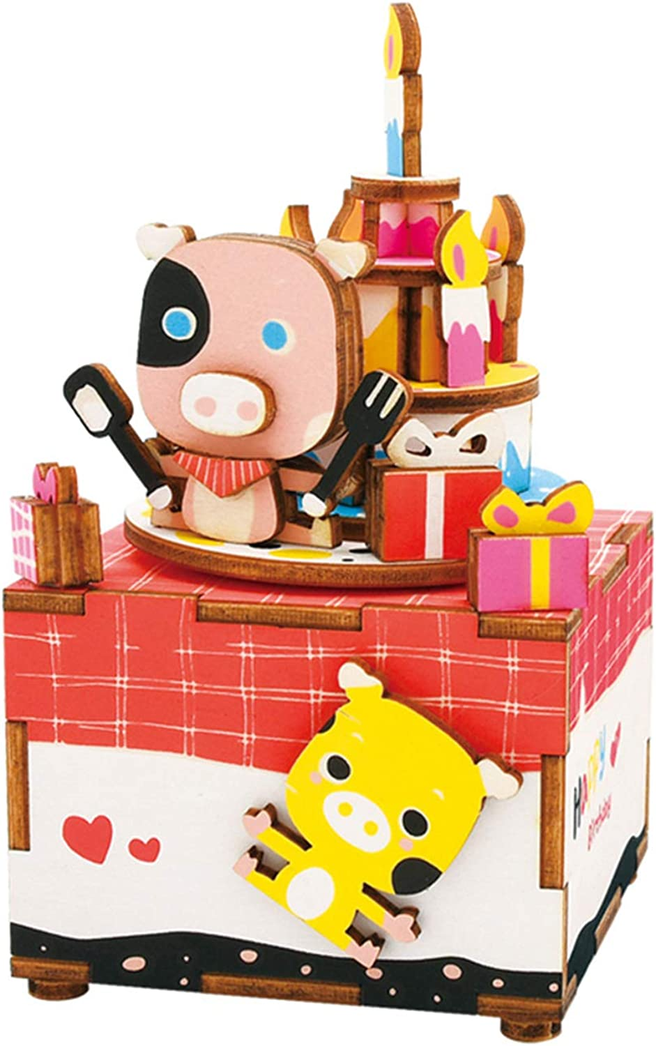 AINIM Handmade Music Box, 3D Cartoon Pig Wooden Jigsaw Puzzle, Home Decoration, Creative Gift